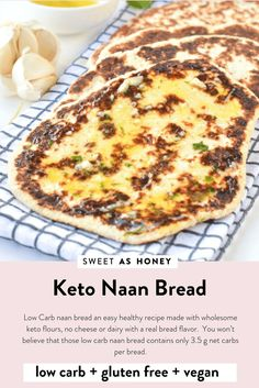 LOW CARB NAAN BREAD Easy Healthy Keto Naan Bread to serve with indian curry Only 35 g net carbs per bread 100 Vegan Dairy free Egg free Paleo Gluten free Easy Healthy Recipes, Low Carb Recipes, Low Carb Desserts, Health Desserts, Rice Recipes, Bread Recipes, Cookie Recipes, Recipies, Low Carb Bread