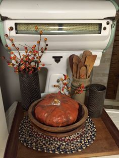 A little fall decor in the kitchen.