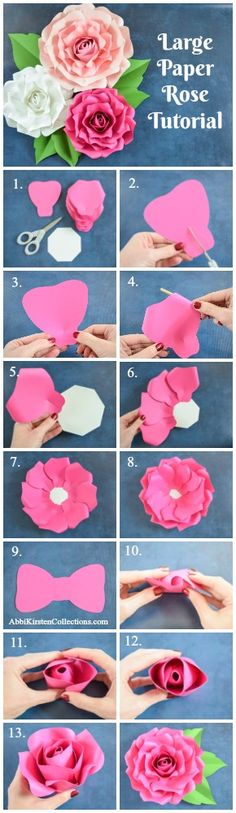 How to make giant paper roses. Easy large paper rose flower tutorial. Paper rose printable templates and SVG cut files