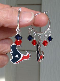 Houston Texan Fever Super Bling Inspired Hoop Earrings. I like.