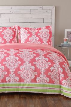 Tommy Hilfiger Kimberly Microfiber Full-Queen Comforter/Sham Set - Pink; also available in king; beach cottage guest room girls room pink white lime green