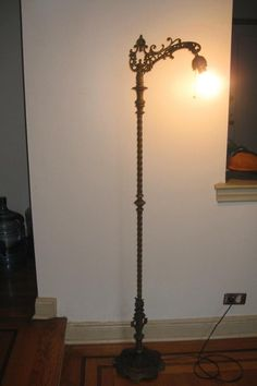 1920s Bent Bridge Floor Lamp W Jadeite Green Glass Art