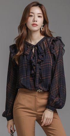 K Fashion Work Fashion - Fashion Trends Korean Fashion Dress, Hijab Fashion, Fashion Dresses, Retro Mode, Blouse Outfit, Collar Blouse, Mode Hijab, Look Fashion, Fashion Spring