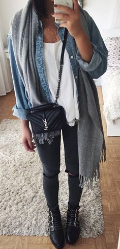 fall street style perfection denim shirt bag scarf black skinnies boots