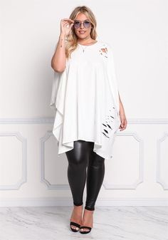 Plus Size Clothing | Plus Size Distressed Pointed Longlined Top | Debshops