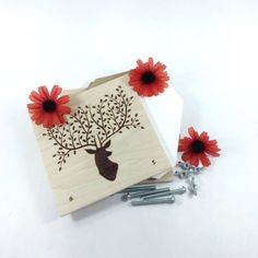 Flower Press  Wood Pyrography  Woodland Deer Plant by bkinspired