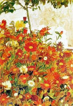 Egon Schiele - Field of Flowers (1910)