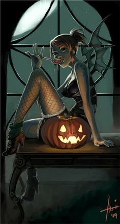 Nami as Halloween Demon: Pin Up and Cartoon Girls Halloween Kunst, Halloween Pin Up, Halloween Artwork, Halloween Pictures, Halloween Horror, Halloween Fairy, Happy Halloween, Halloween Vampire, Halloween Witches