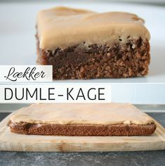 Chocolate cake with Dumble- Chokoladekage med Dumle The popular Dumle cake, always a hit. It consists of a very good combination of spongy chocolate cake with Dumle glaze on top. Brownie Recipes, Cake Recipes, Dessert Recipes, Baking Buns, Danish Food, Cake Decorating Tips, Food Cakes, Yummy Cakes, No Bake Cake
