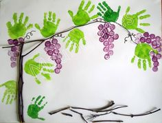Ulices Uvas  Green paint handprint, purple paint fingers