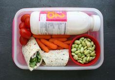 Hummus, ham and rocket multigrain wrap | Fresh baby carrots, Edemame beans, Rosa tomatoes & Fruit smoothie
