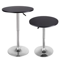Costway Set of 2 Modern Round Bar Table Adjustable Bistro Pub Counter Wood Top Swivel, Black