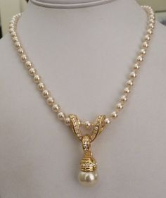 "26"" NOLAN MILLER HANDKNOT FAUX PEARL CHANGEABLE RHINESTONE ONYX PENDANT NECKLACE"