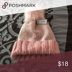 Pompom beanie Pink knitted beanie with pompom on top Apt. 9 Accessories Hats
