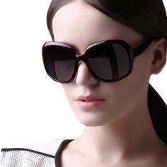 2014 Women Polarized Sunglasses Retro Sun Glasses Fashion Big Frame Shades UV 400 Eyewear Oculos De sol  Gafas With Case Black
