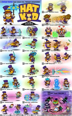 Hat Kid - Super Smash Bros. Moveset Compendium by Daimyo-KoiKoi on DeviantArt Video Game Drawings, Video Game Art, Video Games, Mortal Kombat Memes, Character Template, Shadow Of The Colossus, A Hat In Time, Sonic Fan Characters, Adventure Games