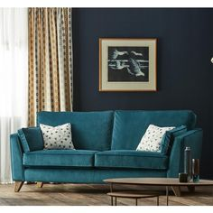 Forrest are a family owned quality furniture retailer based in Glasgow, offering a wide range of Sofas, Dining furniture, bedroom furniture, carpets and more. Living Room Sofa, Sofa Furniture, Sofa Design, Teal Sofa Living Room, Room Color Schemes, Luxe Living Room, Contemporary Sofa, Living Room Grey, Teal Velvet Sofa