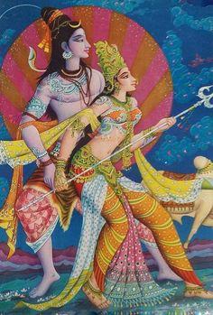 Vintage Old rare Hindu God shiv parvati litho Print collectible Shiva Shakti, Shiva Art, Krishna Art, Hindu Art, Indian Wall Art, Lord Shiva Family, Lord Murugan, Litho Print, Hindu Deities
