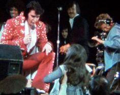 Elvis singing Until Its Time For You To Go. Visible behind Elvis are Estelle Brown, JD Sumner & Richard Sterban.