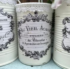 3 French Country Painted Tin Cans Centerpiece Vase White Shabby Chic Typography Labels Home Dorm Wedding Office Decor Decoration Rustic Gift 3 French Country Painted Lace Lacy Tin Cans Centerpieces Vases Shabby Chic Beach, Shabby Chic Vintage, Tin Can Crafts, Jar Crafts, Tin Can Centerpieces, Painted Tin Cans, Decoration Shabby, French Typography, Recycled Tin Cans
