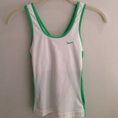 Nike Dri-Fit Running Top White and green Nike work out top. Camisole bra top built in. Nike Tops
