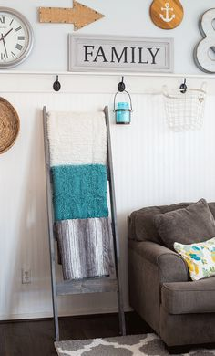 DIY Blanket Ladder for the family room