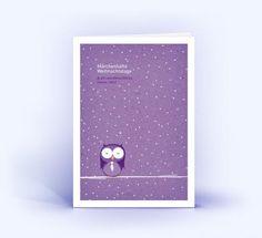 Weihnachtskarten Eule im Schnee 5er Set