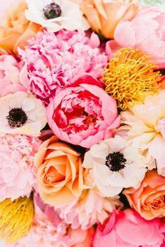 Peonies, anemones, roses.