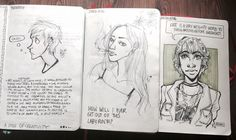 the first pages of my last two and new sketchbook: improvement?? | credit: @rohinicupcake