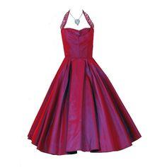 1950's Vintage Iridescent Magenta-Pink Sequin Silk-Taffeta Halter Bombshell Dress JUST LISTED on www.timelessvixen.com