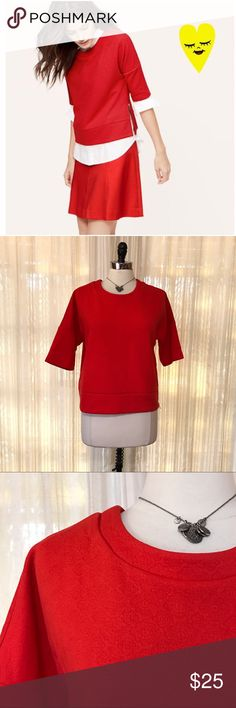 🌸BOGO FREE🌸 Loft red textured zip side knit top Size medium. Ann Taylor LOFT. Red textured pullover top with side zipper. Polyester, rayon. EUC (2.26.15)  💟Fast 1-2 day shipping 💟Reasonable offers accepted 💟Purchase 3 or more items & get a special bundle rate!  💟Smoke-free home LOFT Tops