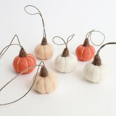 Needle Felted pumpkin ornaments