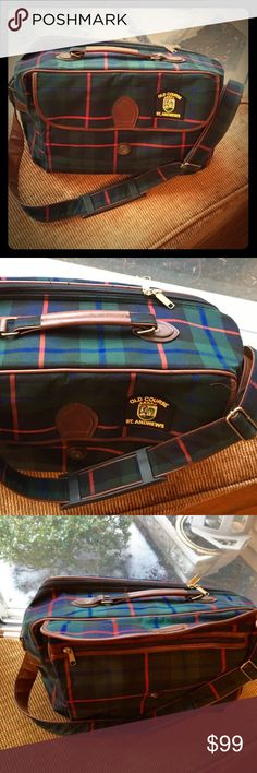 Saint Andrews Leather Flannel Golf Duffel Bag Lovely multipurpose bag from the Old Course Saint Andrews golf club in Scotland. In like new condition. Flannel design with multiple zippered pockets, lots of storage room in the main compartment, the saint Andrews crest / emblem and beautiful leather handle and shoulder strap. Feel free to send me any offers or questions! I'm not too firm on the pricing. Cheers :) St. Andrews Bags Messenger Bags