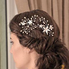 Bridal hair Vine Silver Hair Vine Flower  hair vine Silver