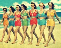 beach photograph BEACH BABES 16x20 photo 1940s coastal decor print vintage red aqua yellow orange color summer girls wall art Nostalgia