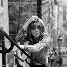 "frenchcinema: ""Françoise Dorléac on the stairs of Montmartre during the filming of the show ""Ni figue ni raisin,"" 1965 "" Catherine Deneuve, Marianne Faithfull, Charlotte Gainsbourg, Jeanne Damas, Jane Birkin, Gisele Bundchen, Lea Seydoux, Françoise Hardy, Old Hollywood Stars"