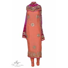 Pretty peach suit adorn in gota work-Mohan's the chic window