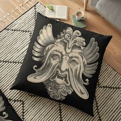 'Groteskology grotesque face tshirt ' Floor Pillow by Floor Pillows, Throw Pillows, Pillow Design, My Arts, Vibrant, Cushions, Flooring, Art Prints, Printed