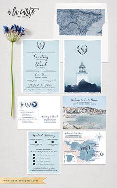 Costa Brava Spain bilingual English Spanish Destination Wedding Invitation Mediterranean Nautical Lighthouse Illustrated
