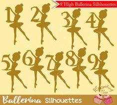 Gold Ballerina Silhouettes Clipart Ballerina Party Decorations, Ballerina Birthday Parties, Birthday Decorations, Diy Crafts For Gifts, Paper Crafts, 2 Clipart, Ballerina Silhouette, Ballerina Cakes, Barbie
