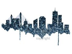Glitter Boston Skyline Print - Home decor and scenic wall art Boston aqua and blue artwork  sc 1 st  Pinterest & Watercolor Painting Boston Skyline Print Wall Art Abstract Painting ...
