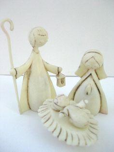 Adorable Vintage Italian Nativity Mary Joseph Baby Jesus Ivory Plastic 4 Piece Set