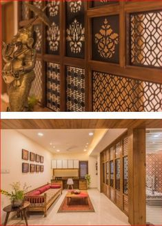 INDIAN STYLE TERIOR Wooden Partition Design, Wooden Ceiling Design, Wooden Partitions, Indian Home Interior, Indian Home Decor, Indian Interiors, Door Design, House Design, Living Room Partition