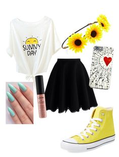 """Bailey's Looks #2"" by kittycupquake ❤ liked on Polyvore featuring Chicwish, Converse, Forever 21 and NYX"