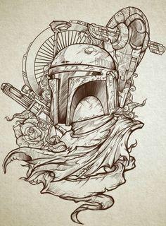 Coloring Pages Star Wars Boba Fett Boba Fett Tattoo, Boba Fett Art, Star Wars Boba Fett, Star Wars Fan Art, Star Wars Tattoo, Star Tattoos, Tatoos, Wing Tattoos, Moon Tattoos