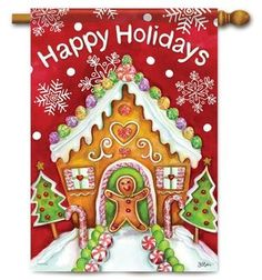Charming Gingerbread Holiday decorative Christmas house flag adds style to your yard decor. Flag Trends eye-catching outdoor flags. Free shipping on $49 orders