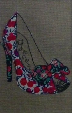 """Framed """"Red Shoe"""" Appliqued and Embroidered picture"""