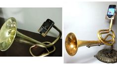 Upcycled brass horns being recycled as amplifiers for technology!