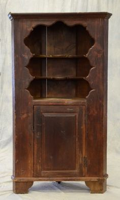 One Piece Pine Open Top Corner Cupboard, Scalloped On