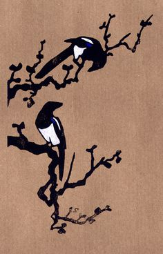 """Magpies :: Becca Thorne Illustration (via Society6)"" Soooo preeeettyyyy. One I wish I had on my wall."